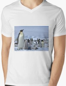 Emperor Penguin and Chicks - Snow Hill Island  Mens V-Neck T-Shirt