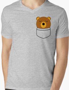 Napping pocket bear Mens V-Neck T-Shirt