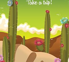 Mexican cartoon vacation poster. by Nick  Greenaway