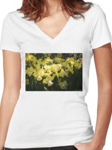 Sunny Daffodil Garden - Enjoying the Beauty of Spring Women's Fitted V-Neck T-Shirt