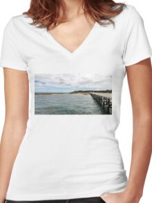Point Lonsdale Panorama Women's Fitted V-Neck T-Shirt