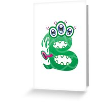Cartoon monster letter B Greeting Card