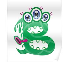 Cartoon monster letter B Poster