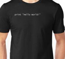 Hello World! - Python 2 - black and white Unisex T-Shirt