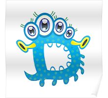 Cartoon monster letter D Poster