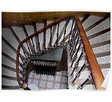Mosaic Staircase With Tile Work Landing And Cast Iron Heater Poster