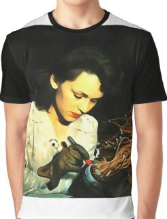 Digital Art - Vintage Style WWii Woman Graphic T-Shirt