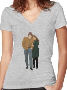Minimalist Freewheelin' Bob Dylan Women's Fitted V-Neck T-Shirt
