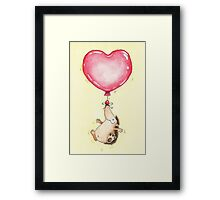 Hedgehog Heart Balloon Framed Print