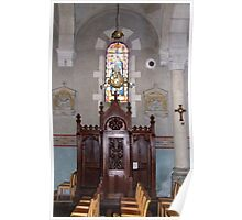 French Church Confessional And Stained Glass Window Poster