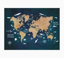 Oceans Life World Map blue Kids Tee