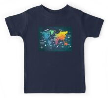 Oceans Life World Map colored Kids Tee