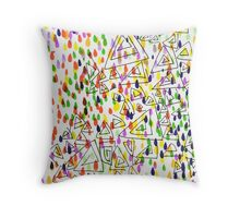 Random Paint - Yellow & Green Throw Pillow