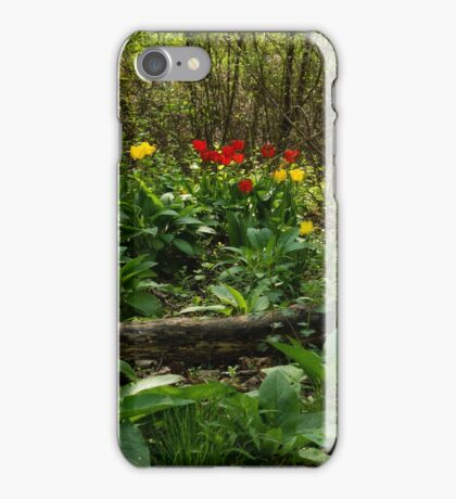 Bright Yellow and Red Tulips in the Forest - Enjoying the Beauty of Spring iPhone Case/Skin