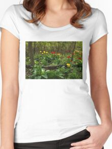 Bright Yellow and Red Tulips in the Forest - Enjoying the Beauty of Spring Women's Fitted Scoop T-Shirt