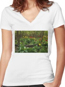 Bright Yellow and Red Tulips in the Forest - Enjoying the Beauty of Spring Women's Fitted V-Neck T-Shirt