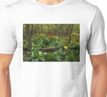Bright Yellow and Red Tulips in the Forest - Enjoying the Beauty of Spring Unisex T-Shirt