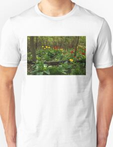 Bright Yellow and Red Tulips in the Forest - Enjoying the Beauty of Spring T-Shirt