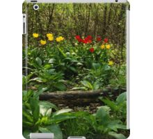 Bright Yellow and Red Tulips in the Forest - Enjoying the Beauty of Spring iPad Case/Skin