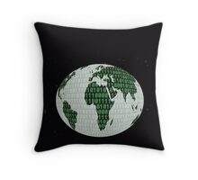 Binary Planet - digital world Throw Pillow
