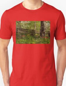 Colorful Tulips and a Rustic Fence - Enjoying the Beauty of Spring T-Shirt