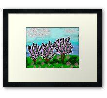 Digital Finger Painting: Trees in Blossom Framed Print