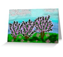 Digital Finger Painting: Trees in Blossom Greeting Card