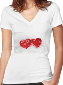 Love Hearts in Snow Women's Fitted V-Neck T-Shirt