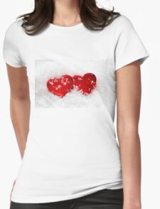 Love Hearts in Snow Womens Fitted T-Shirt