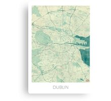 Dublin Map Blue Vintage Canvas Print