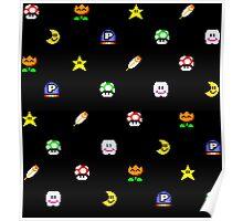 Super Mario World Item pixel pattern black Poster