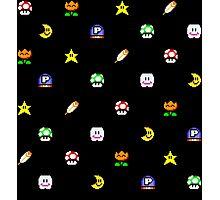 Super Mario World Item pixel pattern black Photographic Print