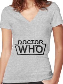 Doctor Who logo 1984-1986 Women's Fitted V-Neck T-Shirt