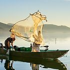 Casting the net, Lago Trasimeno, San Feliciano, Umbria, Italy by Andrew Jones