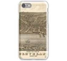 Maps Birds eye view of Cleveland, Ohio . iPhone Case/Skin
