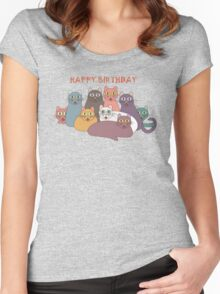 HAPPY BIRTHDAY by NINE CATS  Women's Fitted Scoop T-Shirt