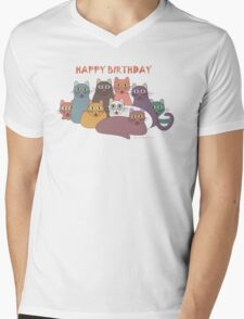 HAPPY BIRTHDAY by NINE CATS  Mens V-Neck T-Shirt