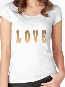 Love Word in Wood Women's Fitted Scoop T-Shirt