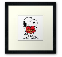 love you snoopy love it Framed Print