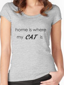 Home is where my cat is - Black Version Women's Fitted Scoop T-Shirt