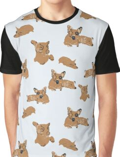 Jack Russel and Corgi Dog Print Graphic T-Shirt