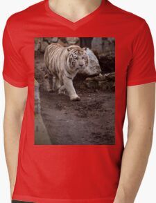 White tiger Mens V-Neck T-Shirt