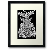 grayscale image of dead king with birds Framed Print