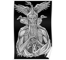 grayscale image of dead king with birds Poster