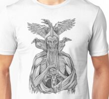 grayscale image of dead king with birds Unisex T-Shirt