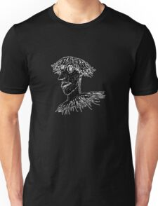 Cool Young Long Hair Man with Glasses Drawing Unisex T-Shirt