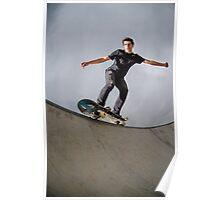 Skateboarder doing a grind Poster