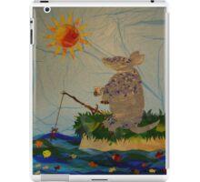 Armadillo, fishing, fish, whimsical art, cartoon armadillo fishing iPad Case/Skin