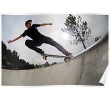 Skateboarder doing a tail slide Poster