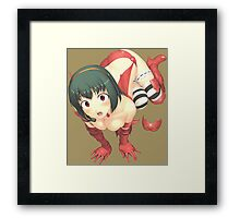 Anime Red Costume Looking Up Framed Print